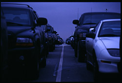 [Cars waiting to board a ferry. Tsawassen, BC. January,  2000.]