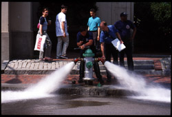 [Fire hydrant test. Cambridge, MA. May 2000.]