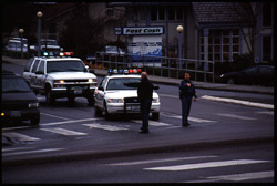 [Directing traffic. Oak Harbor, WA. January 2000.]